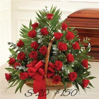 FIRESIDE BASKET OF 24 RED ROSES