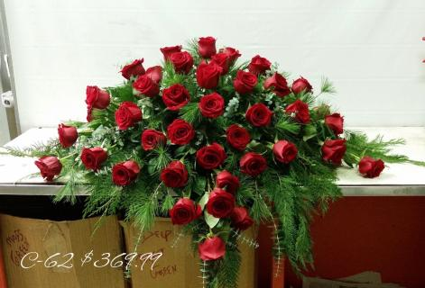 Thirty Six Red Roses Casket Spray