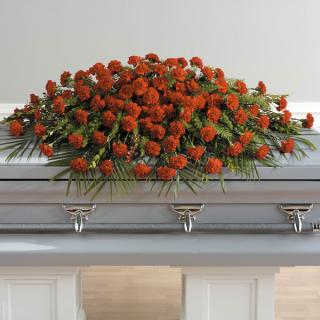A Life Well Lived Full Casket Spray Red Carnations