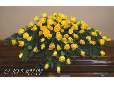 BRILLIANT YELLOW ROSE CASKET SPRAY