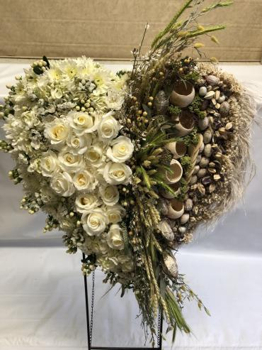 WHITE ROSE HEART WITH PODS AND GRASSES