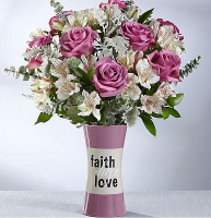 FAITH HOPE AND LOVE WITH LAVENDER ROSES