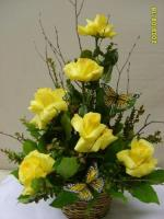 RUSTIC BASKET OF YELLOW ROSES FOR SYMPATHY