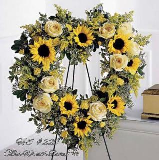 FIELD OF SUNFLOWERS AND ROSES HEART WREATH