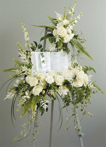 White Standing Spray with Bible, Book Or Picture