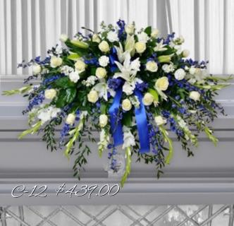 WHITE AND BLUES FOR YOU CASKET SPRAY