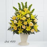 SUNNY YELLOW ROSES & LILIES FOR SYMPATHY