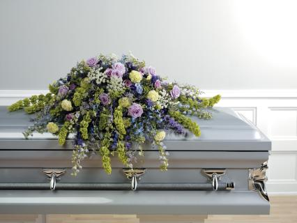 Casket Spray In Green And Purple