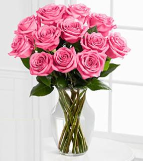A Perfect Pink Dozen Roses