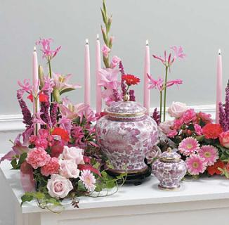 Pink Memorial Table For Urn