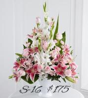 WHITE GLADS & STARFIGHTER LILIES FOR SYMPATHY