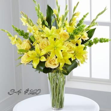 BRILLIANTLY YELLOW VASE FOR SYMPATHY