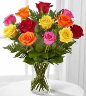 Mixed Dozen Colorful Roses For Sympathy